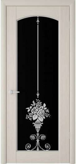 Дверь ПВХ «Верона Букет», беленый дуб и темное стекло