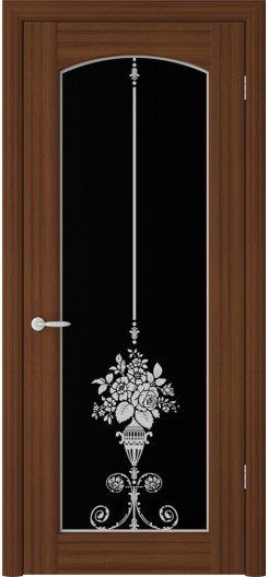 Дверь ПВХ «Верона Букет», орех таволато, темное стекло