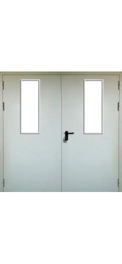 Противопожарная дверь двухстворчатая, остекленная
