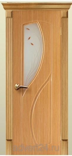 Дверь ПВХ «Фаина». Светлый дуб.